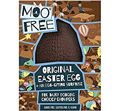 Moo Free Original Easter Egg + An Egg-Citing Surprise Includes - Original Chocolate Easter Egg & Small Chocolate Block (95g) For Dairy Dodging Choccy Chompers - Dairy Free, Gluten Free & Vegan Moo Free Is For Everyone, Bringing Chocolatey Togethernes...