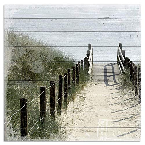 Cuadros Lifestyle Wandbild aus Holz | Holzbild | Shabby-Look | Landhaus | Strand | Vintage | Geschenk, Größe:50x50 cm