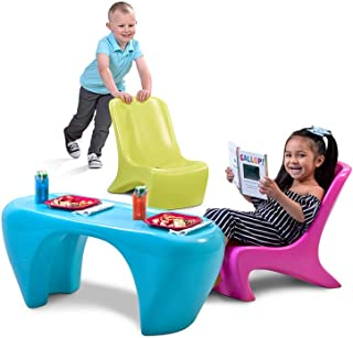 Step2 Junior Chic 3Piece Furniture Set | Kids Plastic Play Table & Chair Set | Colorful Sleek Modern Design