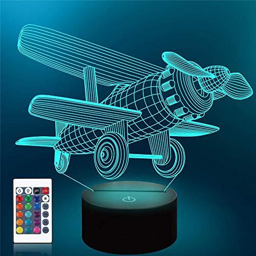 Luz de noche 3D para niños, lámpara de ilusión 3D, avión biplano, cargador USB, juguetes bonitos para regalos de cumpleaños, vacaciones, Navidad para bebé