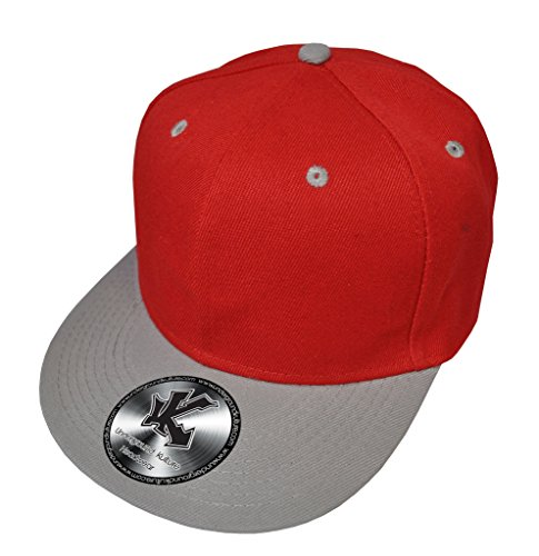 Caquette de Baseball Réglable 2 Couleur Rouge & Gris (Red/Grey Snapback)