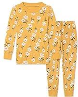 パジャマ 上下セット 綿100% 部屋着 寝間着 上下セット 2-11歳 女の子 半袖 長袖 子供服 トップス パンツ キッズパジャマ カジュアル 快適 肌触りがいい(黄色·花,140)