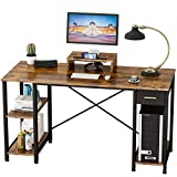 Engriy Computer Desk with Shelves, 55 inch Writing Study Desk for Home Office with Drawer and Monitor Stand, Multipurpose Industrial Wood Metal Desk Workstation for PC Laptop, Rustic Brown