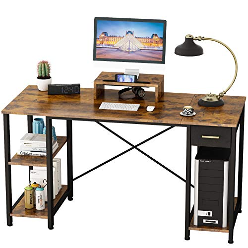 Engriy Rustic Brown 55 inch Computer Desk with Shelves For Home Office