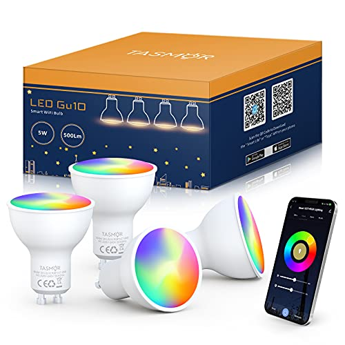 TASMOR Lampadina LED Smart WiFi GU10, Lampadine Intelligence Alexa 5W Equivalenti a 50W 500LM 2700k-6500k Bianco Freddo Caldo+RGB Dimmerabile Colore Cambiano, Compatibile con Alexa Google Home 4 Pezzi