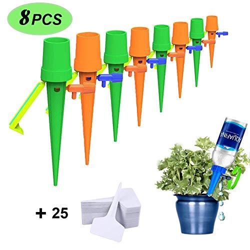 JatilEr 8PCS Automatische Bewässerung, Pflanzen Bewässerungssystem Topfpflanzen, Bewässerungssystem Zimmerpflanzen, für Zimmerpflanzen, Außenpflanzen (mit 25 Pflanzenschilder)