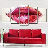 Cuadro sobre Lienzo 5 Partes Imprimir En Lienzo HD Cuadros para Dormitorios Modernos Decoración para El Hogar labios rojos Mural Cuadro 150X80CM