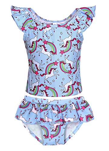 WonderBabe Traje de baño de princesas de unicornio/Hawaii de 2 piezas Tankini set de manga de volantes traje de baño para niños ropa de playa traje de baño