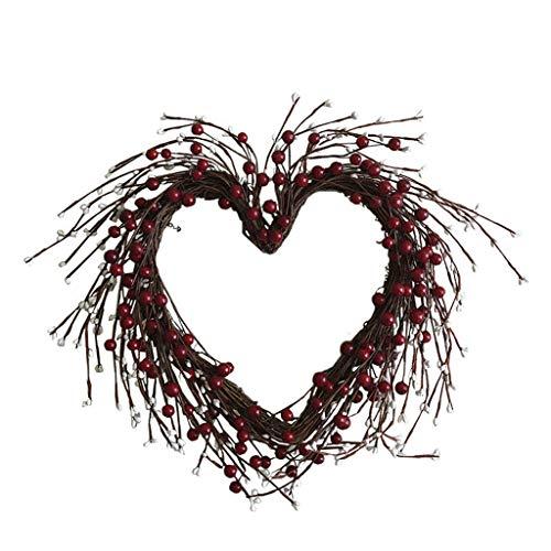 Cgration Herzförmige Beeren Künstliche Blumen Kranz Weihnachtskranz Outdoor für Haustür Wand Fenster Party Hochzeit Dekor