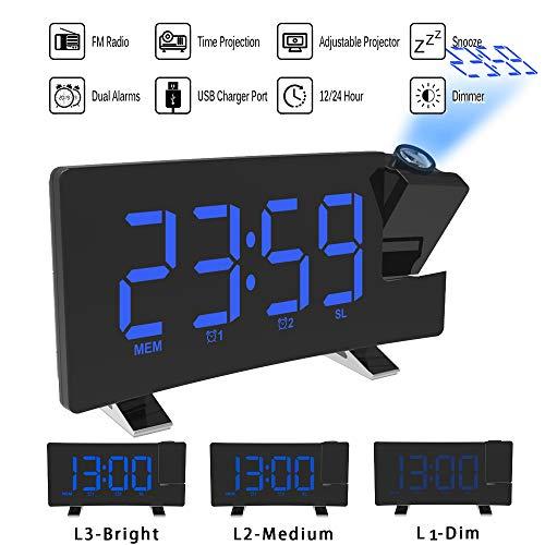 ALLOMN Reloj Despertador de Proyección, Reloj Despertador Digital FM Radio...