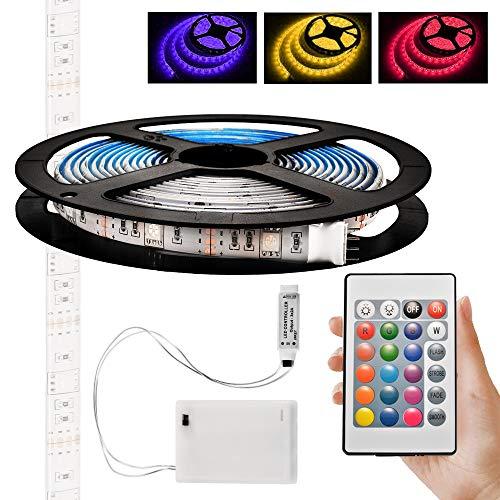 Kreema 3m Batteriebetriebene RGB LED-Streifen-Lichter Flexible Seil-Beleuchtung mit Batterie-Stromversorgungs-Kasten und 24 Schlüssel Rf-Fernsteuerpult