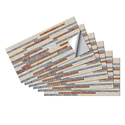 JFDecken Patrón de Ladrillo Retro Pegatinas de Baldosas Pared Cocina e Baño Azulejos Adhesivos Vinilos Pegatinas de Decorativo de Muebles 6 Piezas 15x30cm, Stipes Naranja