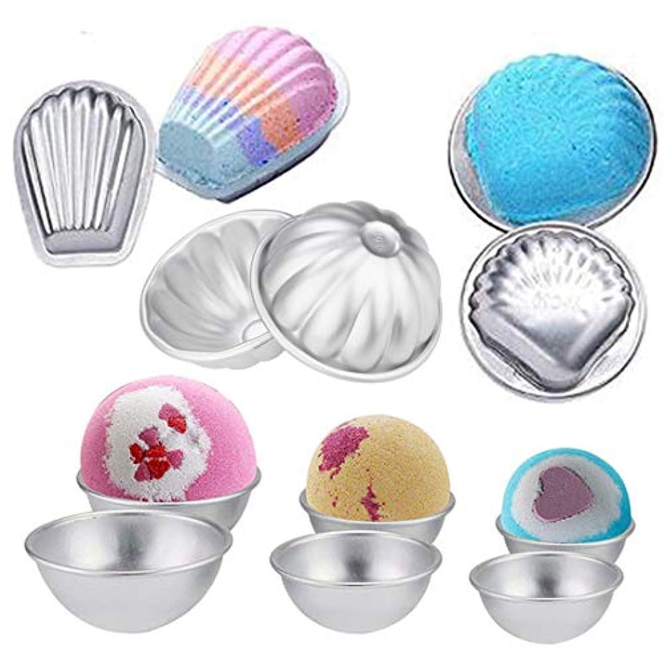 6 Set DIY Metal Bath Bomb Molds for Bath Salts,Soap, Cupcake Baking,Include 6 Hemispheres, 2 Shells, 2 Scallops, 2 Flower