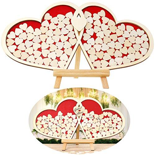 Homemaxs Holzrahmen, Holzrahmengeschenk Größe - 50x55 cm, 100 Stück Herzholzkarte und 2 Stück Herzherzkarte mit schönem Bilderrahmen für Muttertag, Geburtstagsgeschenke