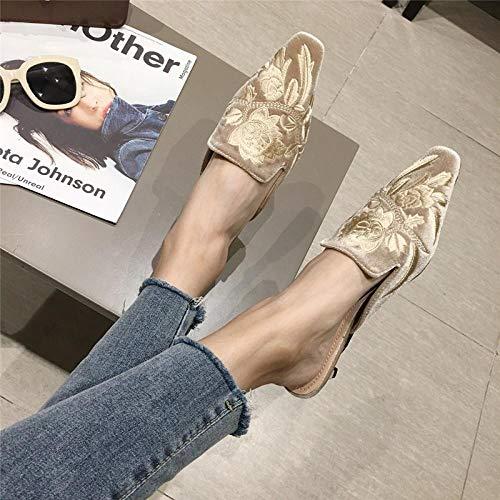 COQUI Zapatillas casa Mujer,El Gato Cuadrado pequeño con Las Zapatillas Finas. Bolsa de Desgaste Femenina de la Caldera y Zapatillas.-Albaricoque_38