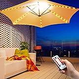 Luz de Cadena de Paraguas al Aire Libre Luces de Sombrilla de Patio Luces con Pilas 104 Luces LED Impermeables para Exteriores con Control Remoto en Modo 8 para Tiendas de Campaña Sombrillas de Patio