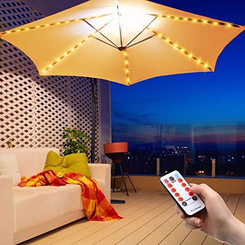 LED-Regenschirm-Lichterkette für den Außenbereich, batteriebetriebene Lichter, 104 LEDs, wasserdicht, mit Fernbedienung, 8 Modi, für Terrassenschirme und Zelte