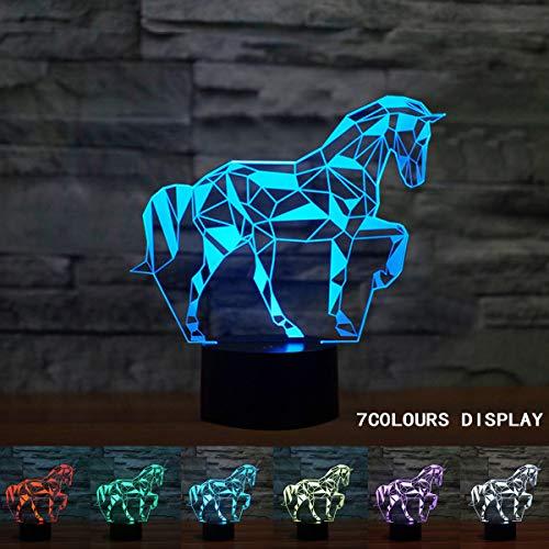 Coolzon Lampade Luce Notte Bambini Comodino Moderne LED USB Toccare Il Controllo7 Colori Selezionabil Cavallo Luci Notturne Idee Regalo Natale Lampada da Letto