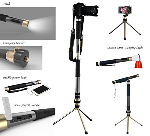 E-MAZONCO outdoor multifunctional selfie tripod, built-in bluetooth speaker, power bank, torch, emergency hammer, for camera & mobile phone standing, mountain crutch, caution lamp, etc.