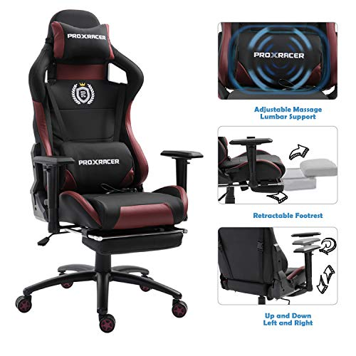 PROXRACER Massage Gaming Chair with Footrest Racing Chair Heavy Duty E-Sports Chair for pro Gamer Seat Height Adjustable Multi-Function Recliner with Headrest and Lumbar Support Pillow (Black/red) chair footrest gaming