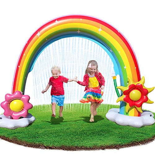 Neteast Inflatable Rainbow Arch Sprinkler Outdoor Toys for 1 2 3 4 5 6 7 Year Old Boys and Girls Gifts, Large Outside Splash Sprinkler Water Toys for Kids and Toddlers