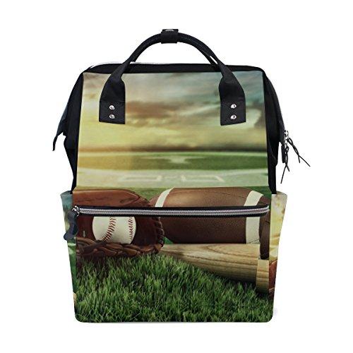 tizorax Baseballschläger und Handschuhe in Field Sunset Windel Rucksack Große Kapazität Baby-Bag Multifunktions-Wickeltaschen Mom Rucksack Reisen für Baby Care