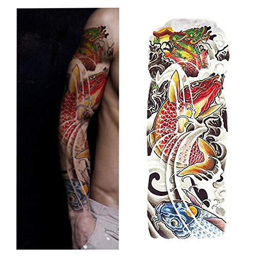 Handaxian 3pcsFull Bras de Fleur Autocollant de Tatouage Poisson Paon Lotus Body Painting Transfert d'eau Tatouage Set 3pcs-19