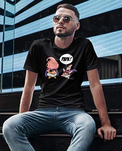 T-Shirt Manga - Parodie Boubou de Dragon Ball Super et Patrick de Bob l'éponge - Tel père tel fils (Version SD) - T-shirt Homme Noir - Haute Qualité (843) - Large