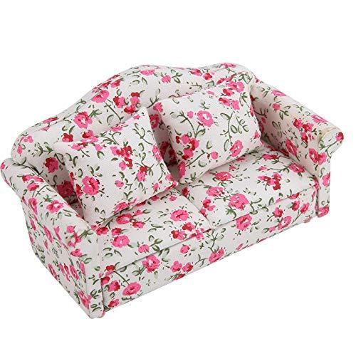 Gloednieuwe duurzame bloempatroon mini meubels bankstel, hoge kwaliteit 1/12 schaal poppenhuisaccessoires met rugkussens(Kleine bloemcluster)