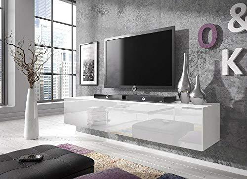 E-Com - TV-Lowboard Fernsehschrank Fernsehtisch Rocco - 160 cm - Weiß