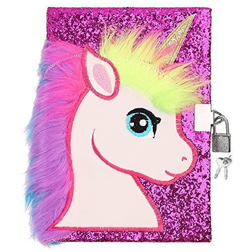 Ysoazgle Magic Diary for Girls Lovely Unicorn Fluffy Notebook 160 pagine per scrivere e disegnare Regali di compleanno di Natale per ragazze ... (viola)