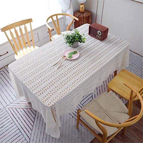 SONGHJ Hollow Bordado de Encaje Blanco Mantel de Ganchillo de Algodón Rectangular Paño de Tabla Casa Hotel Textile Decor B 150x220cm