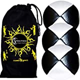 3x Pro Juggling Balls - Deluxe (LEATHER) Professional Juggling Balls Set of 3 +Fabric Travel Bag. (Black/White) by Flames N Games Juggling Balls