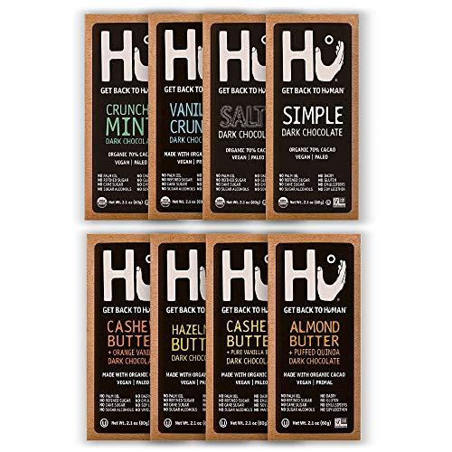 Hu Vegan Chocolate Bars   Gluten Free, Paleo, Non GMO, Kosher Dark Chocolate   2.1oz Each (8-Pack Variety)