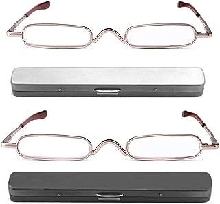 REAVEE 2 Pack Metal Slim Reading Glasses Spring Hinged Pen Readers Small Rectangular Mini Portable Tube Readers w Pen Clip Case +2.5