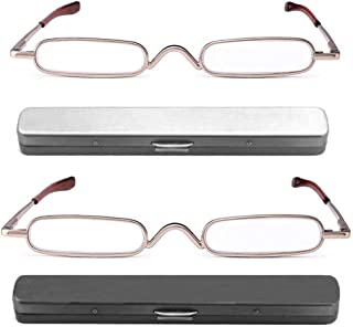 REAVEE 2 Pack Metal Slim Reading Glasses Spring Hinged Pen Readers Small Rectangular Mini Portable Tube Readers w Pen Clip Case +1.5