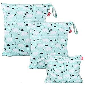 Damero 防水バッグ オムツポーチ 3点セット かわいい 多機能 オムツ 着替え 水着 お風呂用品 タオル 食事セット入れ クリスマス プレゼント(S+M+L,ホッキョクグマ)