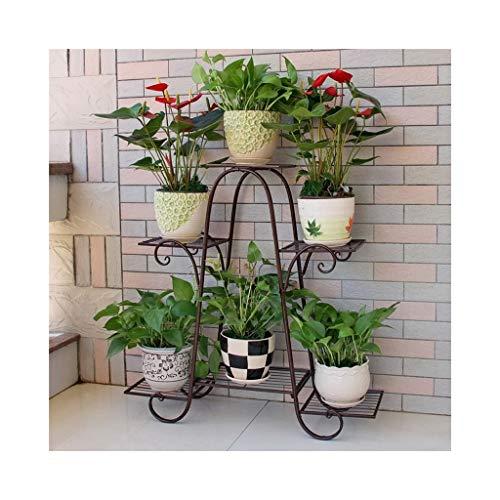 XYHX Bloemenstandaard metaal binnen en buiten kruid woonkamer balkon eenvoudige 6 vloer vloer soort ruimte decoratie bloempot rek plantenstandaard