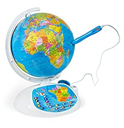 An interactive globe and its optical reading pen to discover the world in an interactive way! Topics covered: continents, countries, capitals, areas, populations, currencies, language, territories, altitudes, time zones, curiosities, typical products...