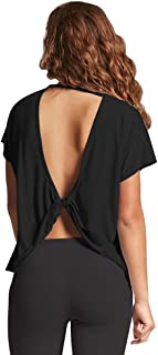 Women's Sexy Open Back Workout Tops Backless Yoga Shirts Cute Gym Crop Tank Tops