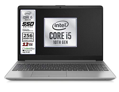 Notebook Hp 250 G8 Silver, Intel Core i5 10Th, 4 core, ram 12Gb Ddr4, SSD 256 M.2 Pci Nvme, Display 15.6' Full HD, wi-fi, bt, 3 usb, webcam, Win 10 Pro, Libre Office, Pronto all'uso, Garanzia Italia