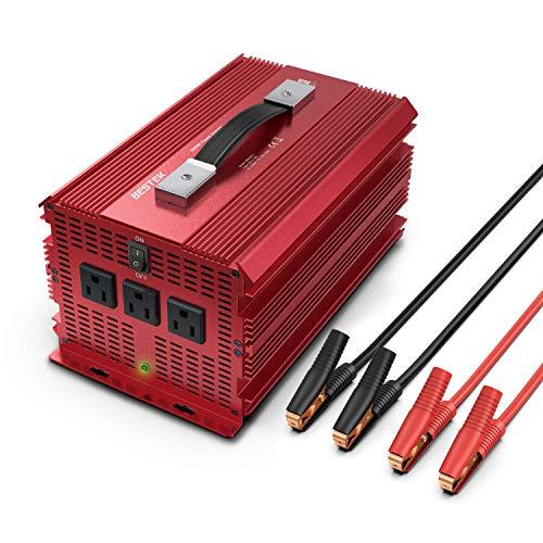 BESTEK 2000W Power Inverter 3 AC Outlets DC 12V to 110V AC Car Power Converter for Camping Outdoor Power Supply ETL Listed