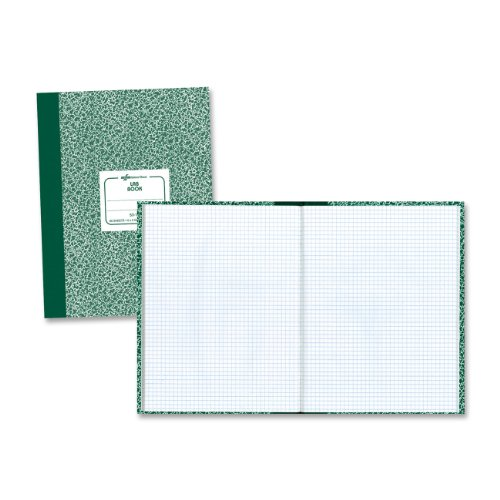 National Laboratory Notebook, 5 x 5 Quad Ruling, Green Marble Cover, 10.125' x 7.875', 60 Sheets (53108)