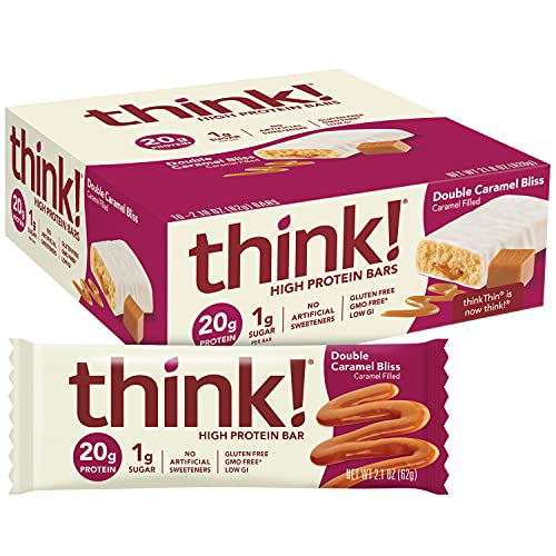 think! (thinkThin) High Protein Bars, 20g Protein, 0g Sugar, No Artificial Sweeteners, Gluten Free, GMO Free, 2.1 oz bar (Packaging May Vary), Double Caramel Bliss, 10 Count