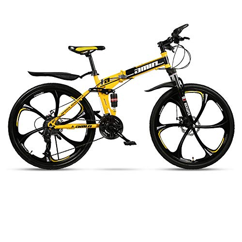 Folding Mountain Bike 21/24/27/30 Speed 24/26 Inch Integrated Wheel Bicycle Ring Shock Absorber Racing Off-Road Shift Male and Female Students Fast Riding,Yellow,26in/21speed