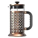 cherrypop French Press Coffee Tea Maker (34 onzas) - Olla de acero resistente al calor con 3 filtros de pantalla, bronce