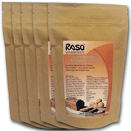 Brot mit Kurkuma - bewährte RASO Naturprodukte DAS ORIGINAL Rezeptur Brotbackmischung Dinkel - Kartoffel - Ohne Kneten, ohne gehen lassen 5 x 500g