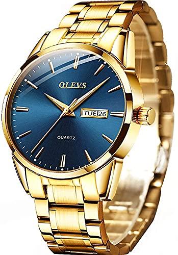 OLEVS Relógios masculinos de luxo, simples, de aço inoxidável, dourado, para homens, mostrador azul, casual, clássico, quartzo, à prova d'água, Relojes de Hombre