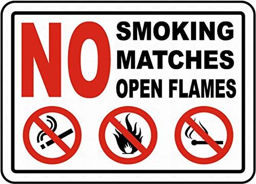 KE OU No Smoking Matches Open Flames Vintage Art Tin Sign Metal Decoration Plaque Poster Cafe Bar Store Wall Decor
