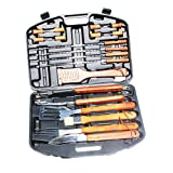 RNT Home-Complete BBQ Grill Tool Set- 18 Piece Stainless Steel Barbecue Grilling Accessories with Case, Spatula, Tongs, Skewers